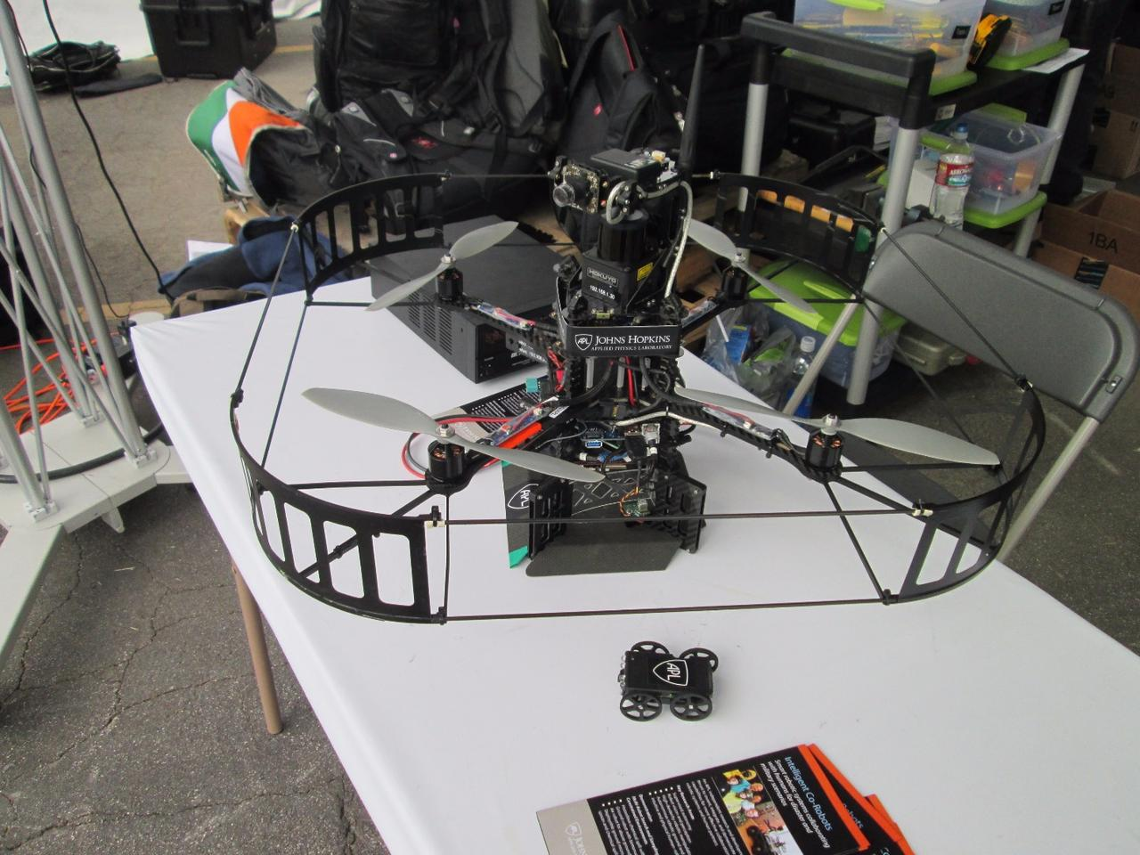 A drone displayed by Johns Hopkins University