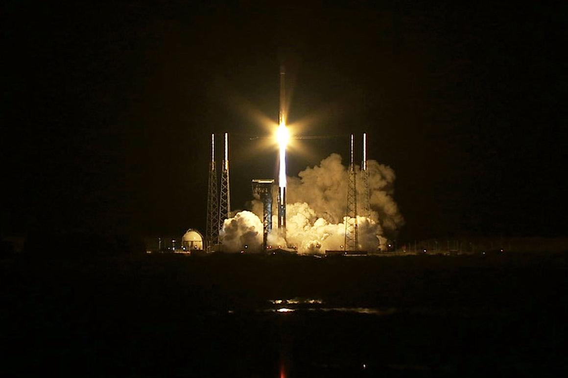 The Cygnus spacecraft, lifting off on top of an Atlas V rocket