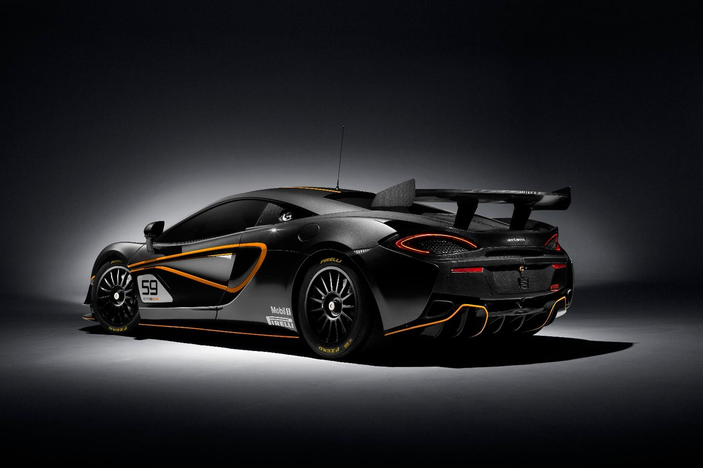 The 570S GT4 is fitted with a bespoke aerodynamics kit