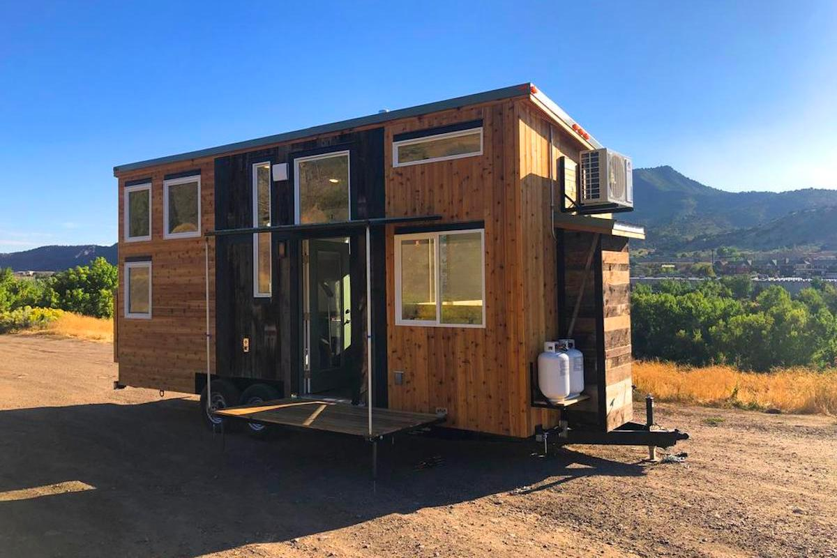 The Timberwolf 24' Tiny House features Rocky Mountain Tiny Houses' signature rustic exterior style