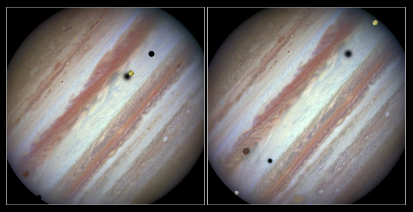 Image on the left is an early shot of the event, while the right is relatively near the end of the transit (Image: NASA, ESA, Hubble Heritage Team)