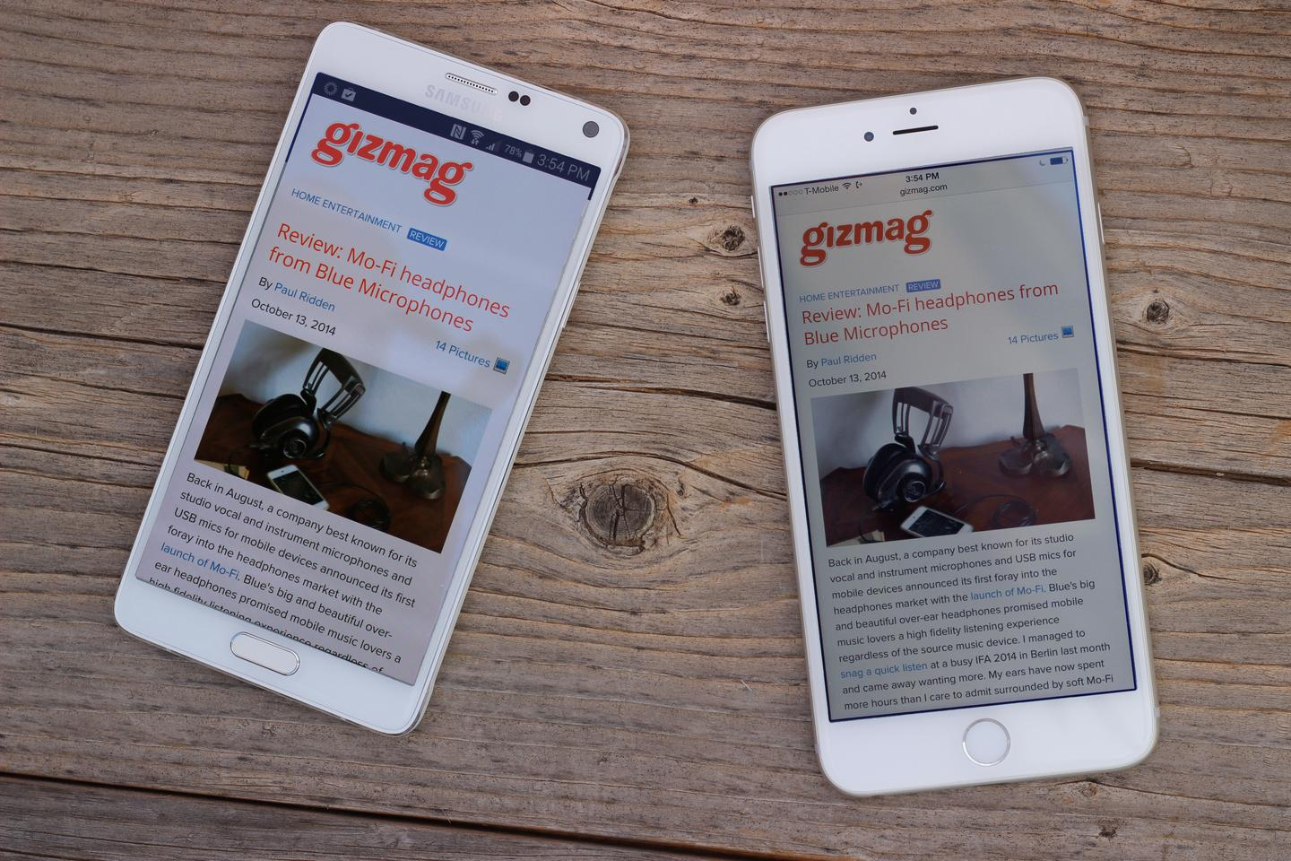 Samsung Galaxy Note 4 (left) and the iPhone 6 Plus (Photo: Will Shanklin/Gizmag.com)