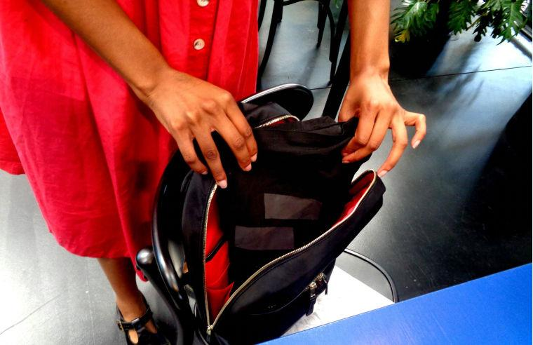 After use, the Textile Touchpad can be folded up and stowed away in a backpack for transport ease