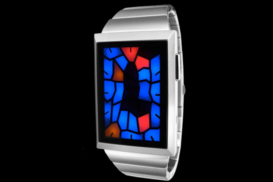 Tokyoflash Broke watch with stained-glass window-like display - pictured watch's time is 1:24