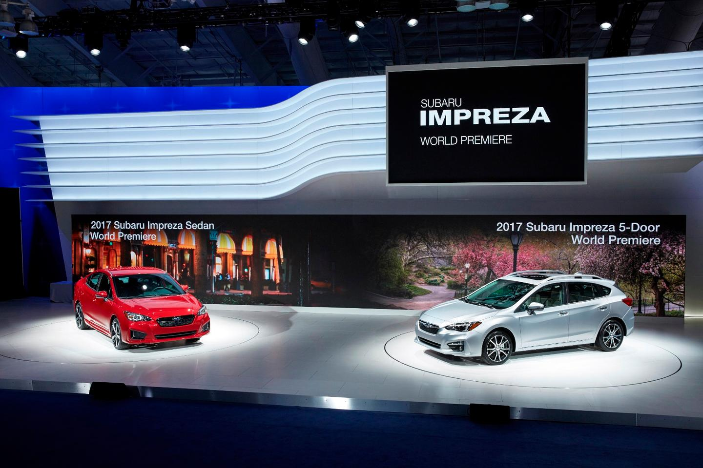 The new Impreza on the floor at the New York Auto Show