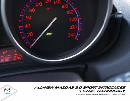 Mazda's iStop technology puts the engine into pause mode rather than turning it off completely which results in quicker restarts while achieving good fuel-saving