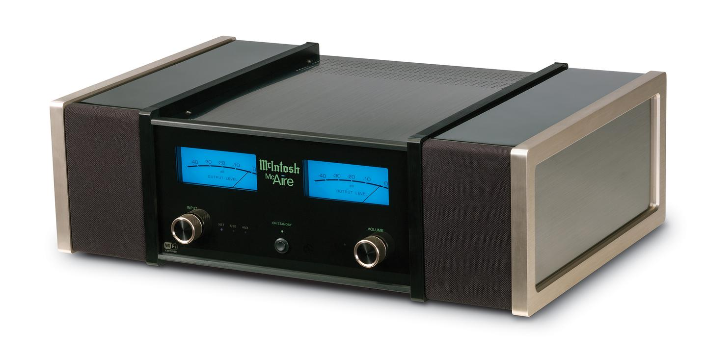 The McAire features a high gloss black finish, rather snazzy McIntosh blue output meters, glass faceplate and a knit cloth grille, also in black, with magnetic attachment