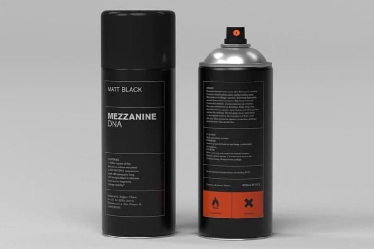 Spray cans containing around one million copies of the Massive Attack album, Mezzanine, stored in DNA