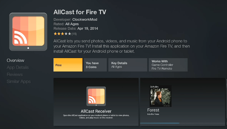 Download AllCast for Fire TV