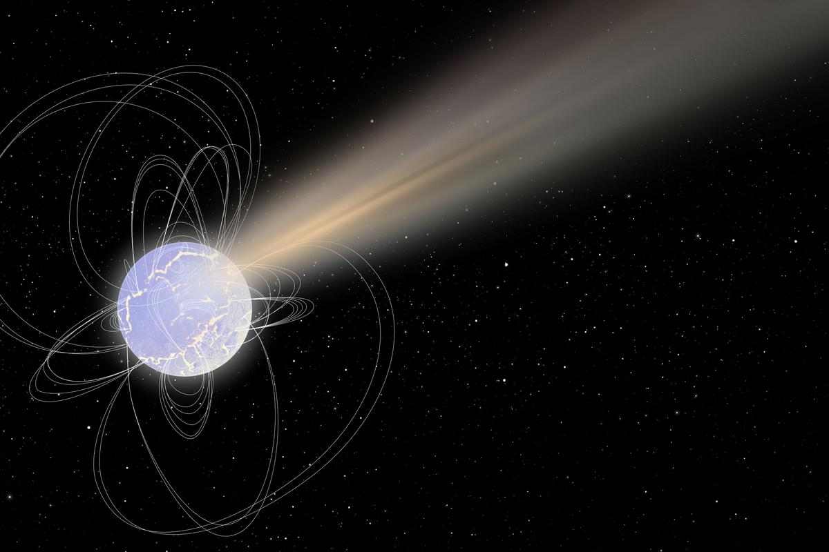 An artist's impression of magnetar SGR 1935+2154, which has been detected giving off radio waves that may resemble fast radio bursts