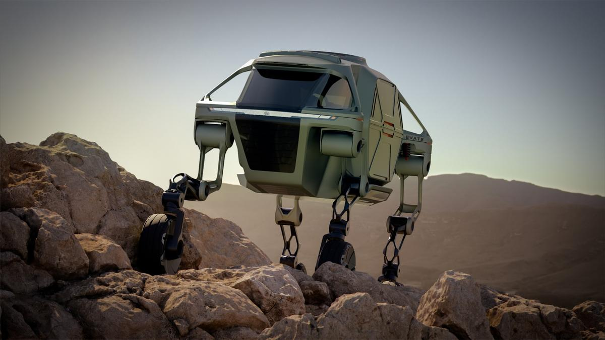 The articulated legs of the Elevate allow it to stand up and walk over obstacles that would chew regular off-road vehicles to pieces