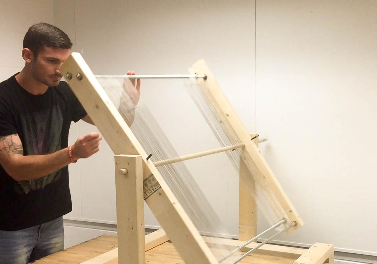 Josh Tulkoff constructs a large prototype of the fog harp