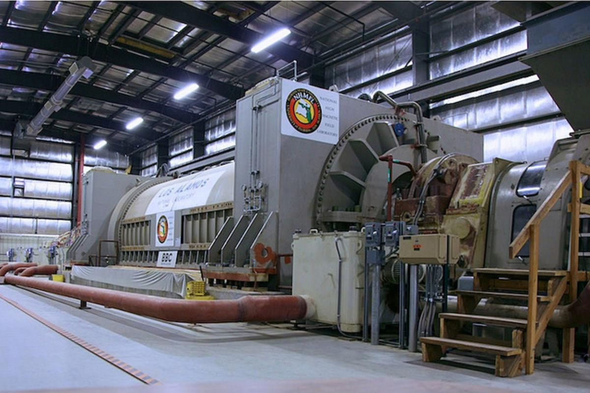 The 1.2 gigawatt motor-generator system which powers the outer coils on the LANL 100 Tesla pulsed magnet