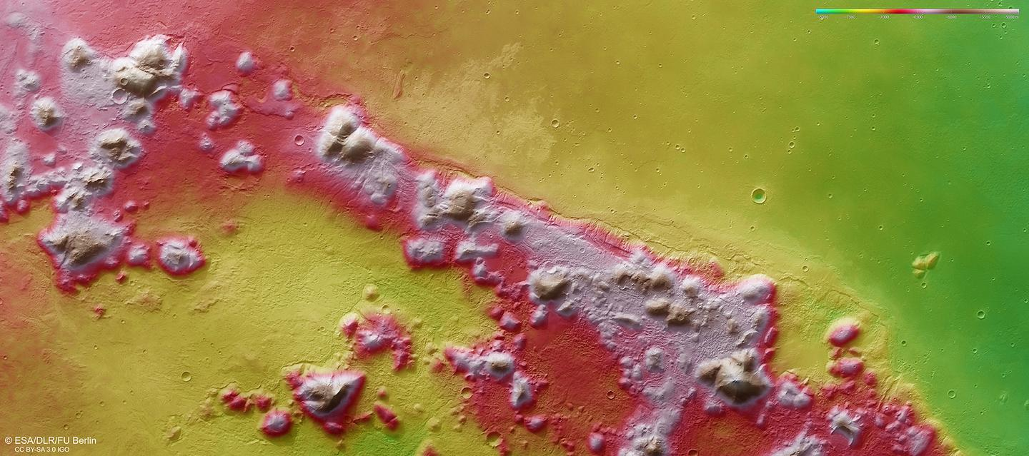 The new images were taken by the High Resolution Stereo Camera on the Mars Express orbiter – each pixel represents around 15 m ( ft) (Image: ESA/DLR/FU Berlin, CC BY-SA 3.0 IGO)