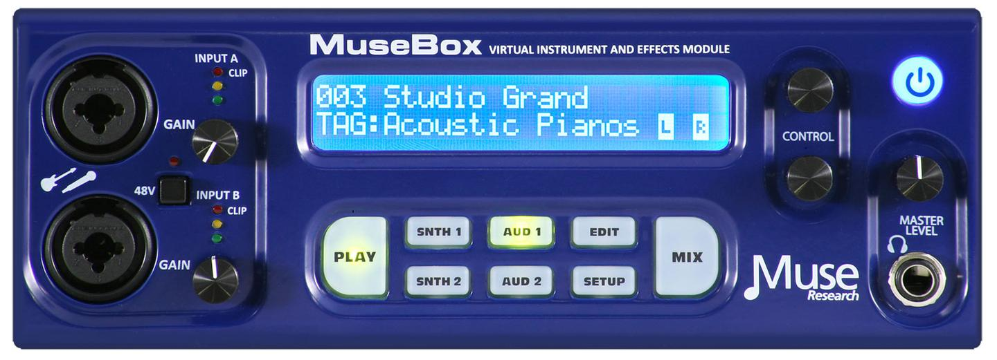 MuseBox's SoundFinder feature allows users to quickly browse through thousands of presets by category as well as create and save new sounds for recall later, all via the buttons and dials on the front of the unit
