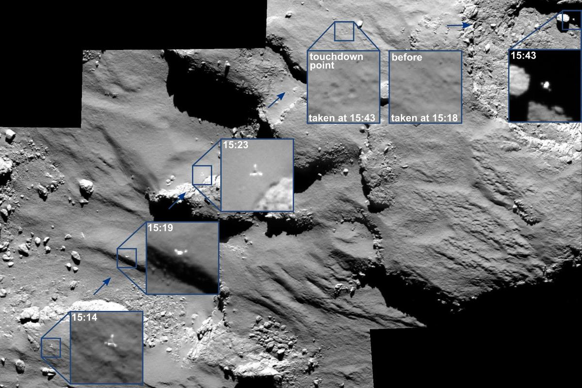 Photo mosaic showing Philae's approach, landing, and bounce (Image: ESA/Rosetta/MPS for OSIRIS Team MPS/UPD/LAM/IAA/SSO/INTA/UPM/DASP/IDA)