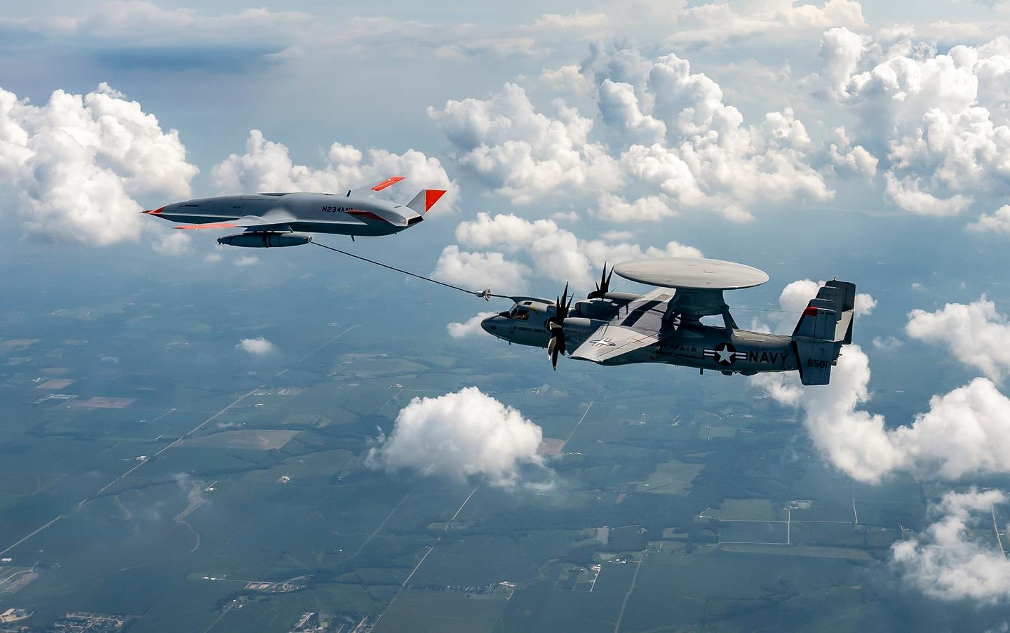 Boeing's MQ-25 T1 refuels a U.S. Navy E-2D command and control aircraft