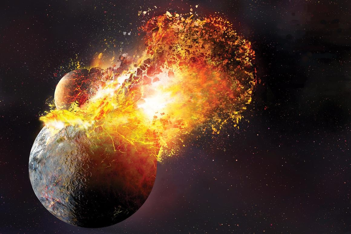 Artist's impression of a Mars-sized planetoid smashing into proto-Earth