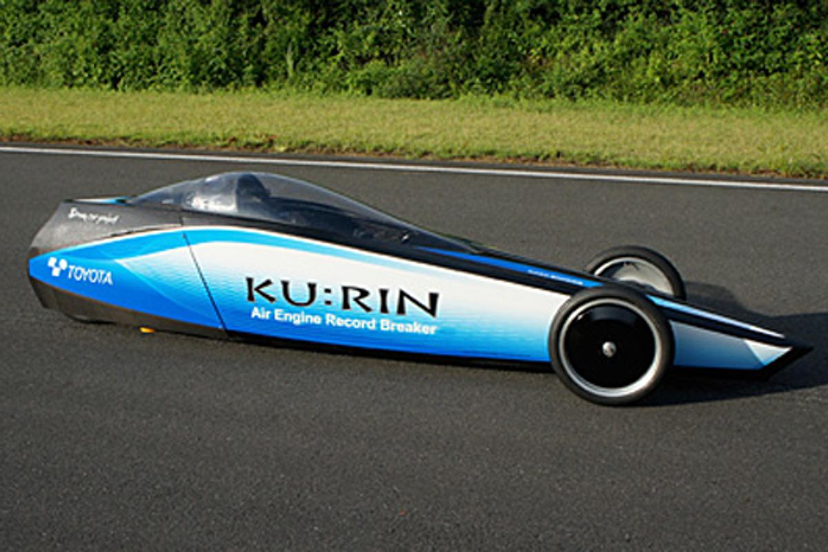 Toyota Industries Corporation recently set a speed record for compressed air cars, by sending its KU:RIN up to 129.2 km/h (80.3 mph)