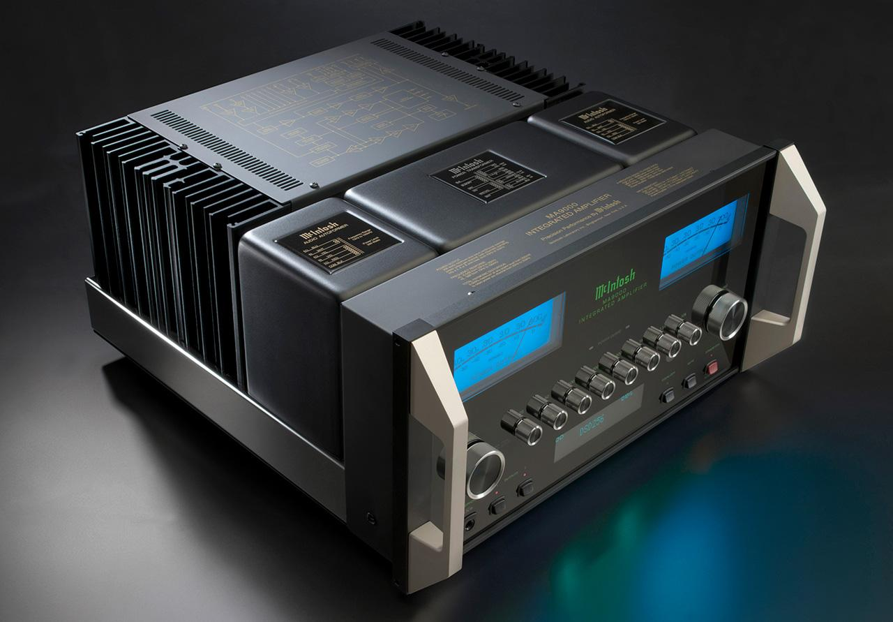 The MA9000 integrated amplifier from McIntosh punches out 300 watts per channel