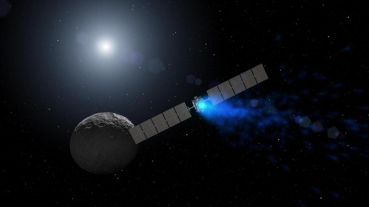 Artist's concept showingDawn arriving at the dwarf planet Ceres