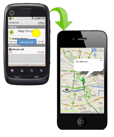 """""""I'm lost"""" button pinpoints your child on a map and gives you directions to get there"""