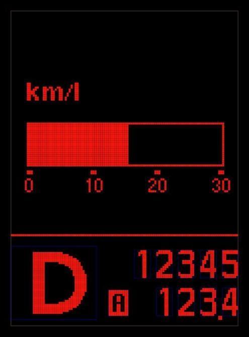 Instant fuel-efficiency gauge on the SKYLINE for Japan