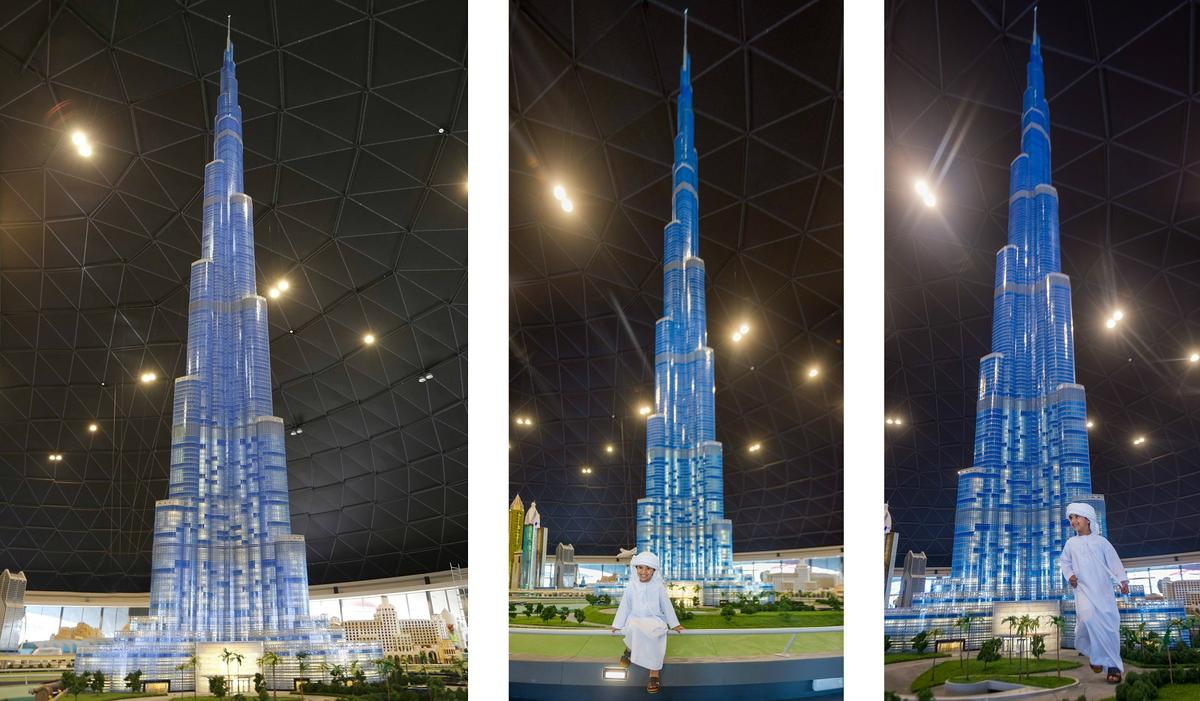 The 56-foot tallLegoBurj Khalifawas constructed using 439,000 pieces, taking a total of 5,000 hours