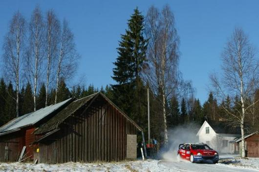 Sebastien Loeb bursts out of the forest in the Swedish Rally