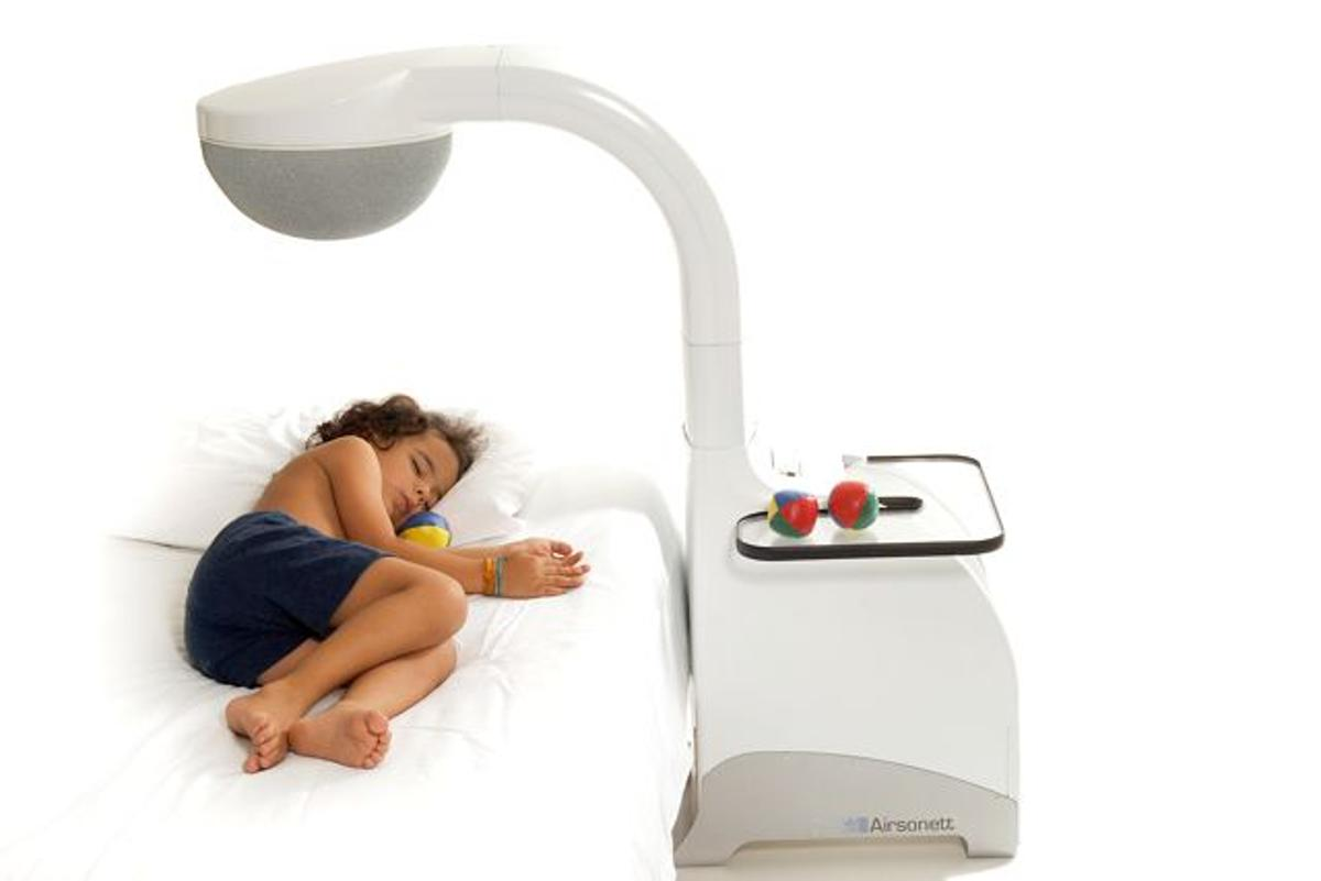 """The Protexo is a device that blows cool air on asthma sufferers as they sleep, to keep allergens away from their """"breathing zone"""""""