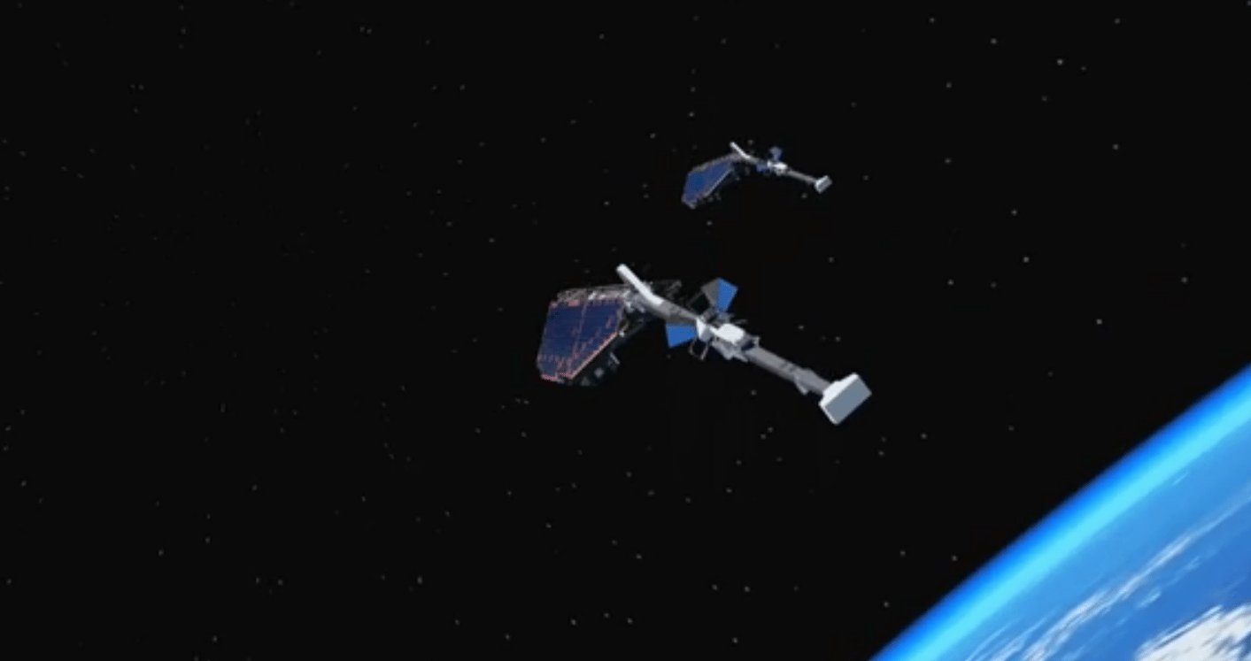 Two Swarm satellites flying in formation