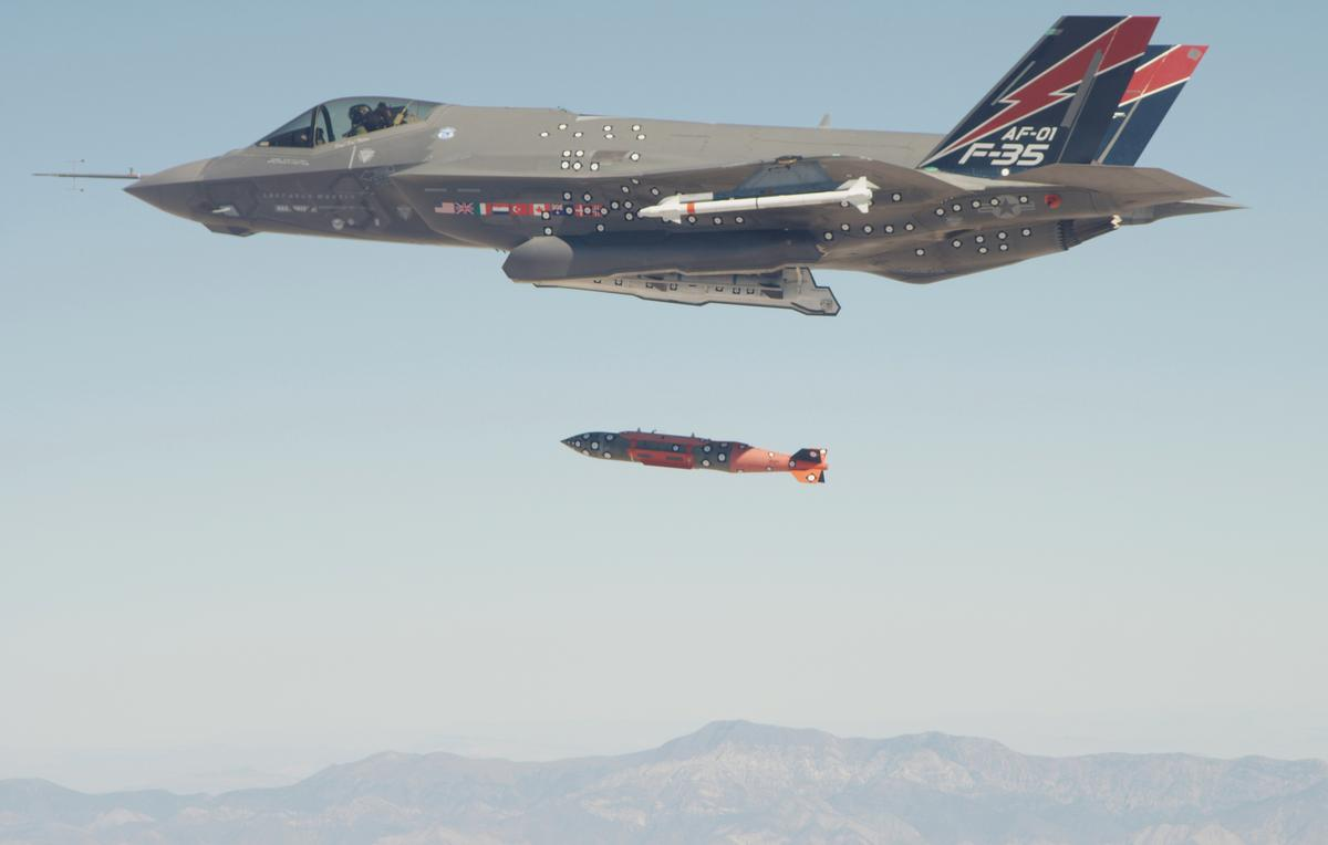 A 2,000 pound GBU-31 BLU-109 Joint Direct Attack Munition (JDAM) is jettisoned from the F-35A