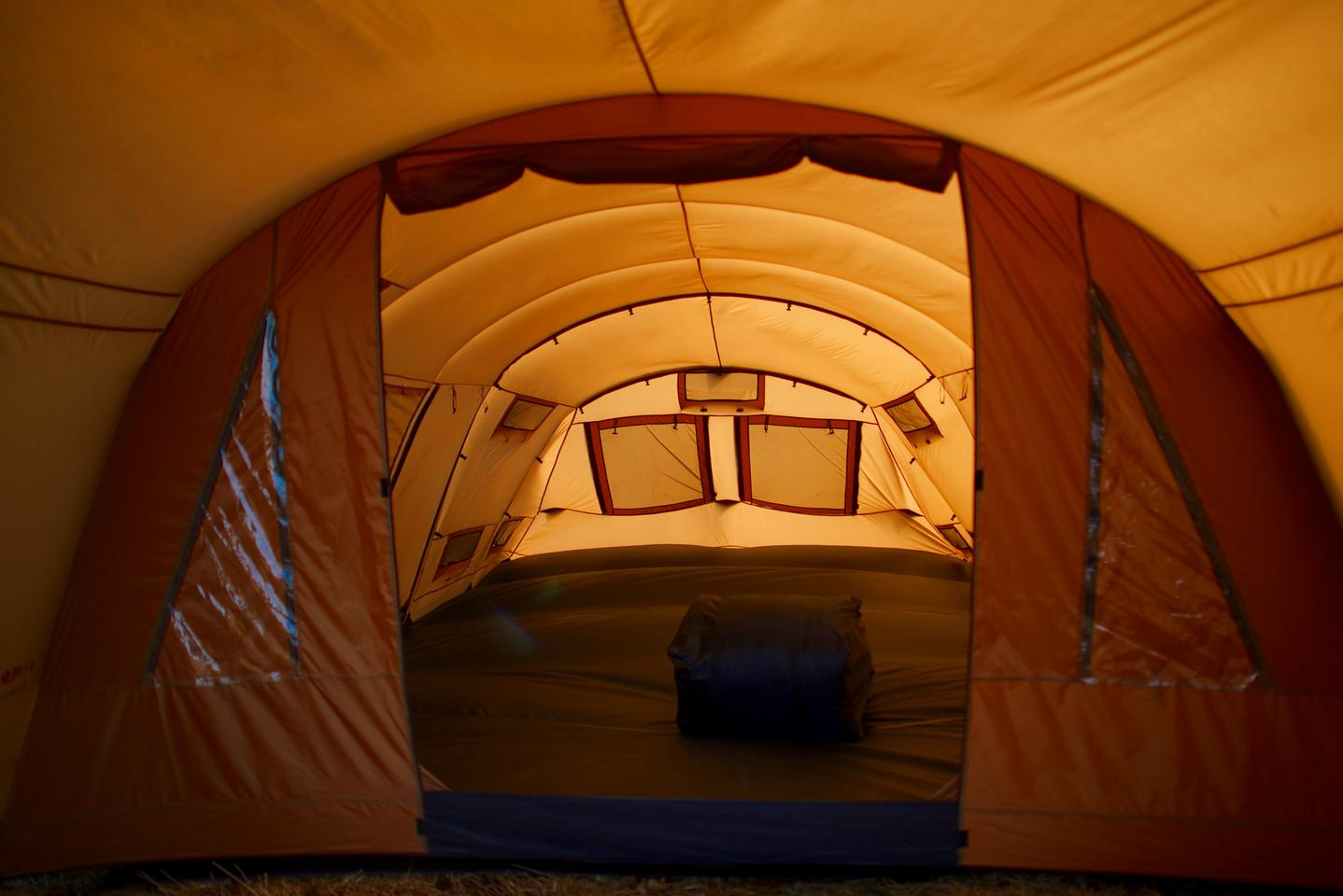 The Thermo Tent consists of a semi-traditional outer tent and an inner tent that hangs inside