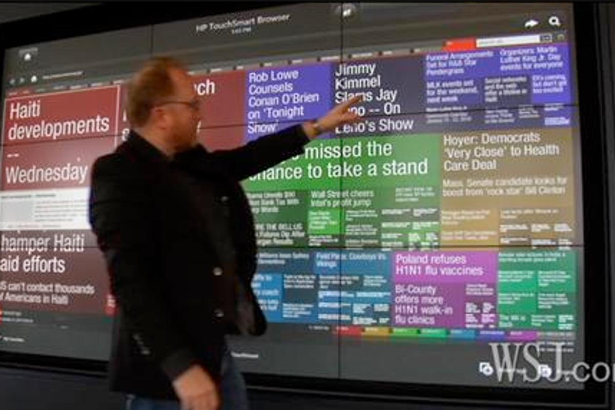 The HP Wall of Touch is made up of as many as nine 43 to 46-inch, 1080p panels