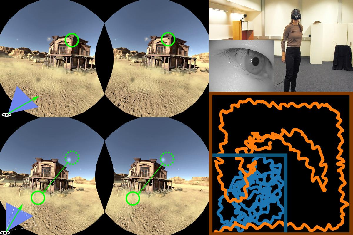 Left, what the user is seeing in VR, with markers indicating flickers that invoke more saccades; top right, theVR user; inset, the SMI eye-tracking technology at work; bottom right, the blue line represents the user's physical path while the orange line is the much biggervirtual path