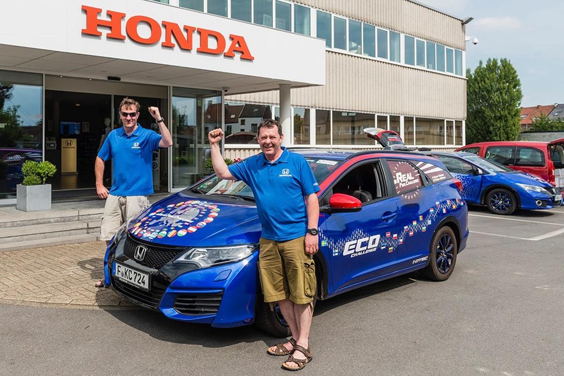 The Honda Civic Tourer 1.6 i-DTEC was driven by two members of Honda's European research and development team, Fergal McGrath and Julian Warren