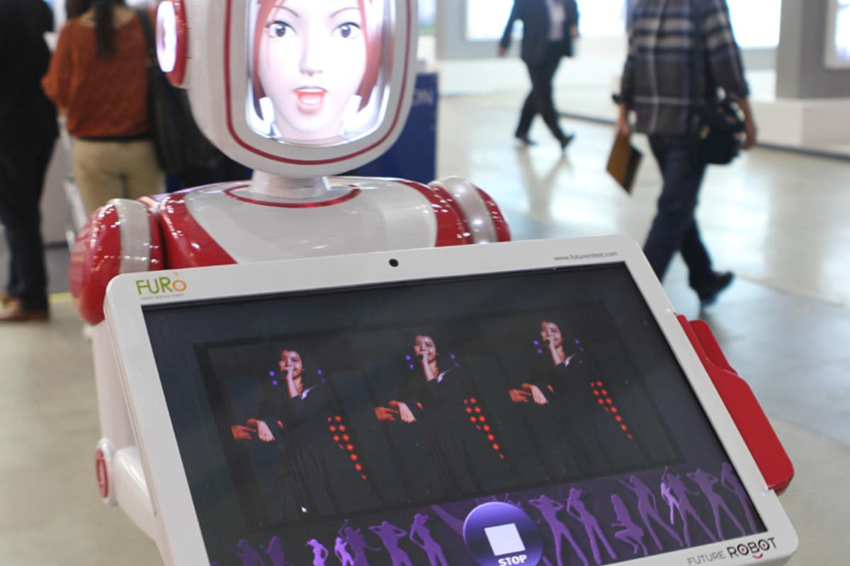 Future Robot's service robot FURO can perform a simple dance, looks sad when customers leave, and carries a touch screen that can function as a menu in restaurants.