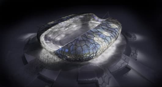 The exterior design for the main stadium at the 2014 Winter Olympic Stadium looks decidedly insect or reptilian-like