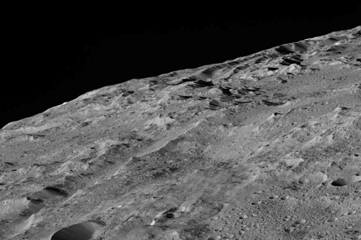 An image captured by Dawn on December 10, showing the area surrounding a crater chain known as Gerber Catena