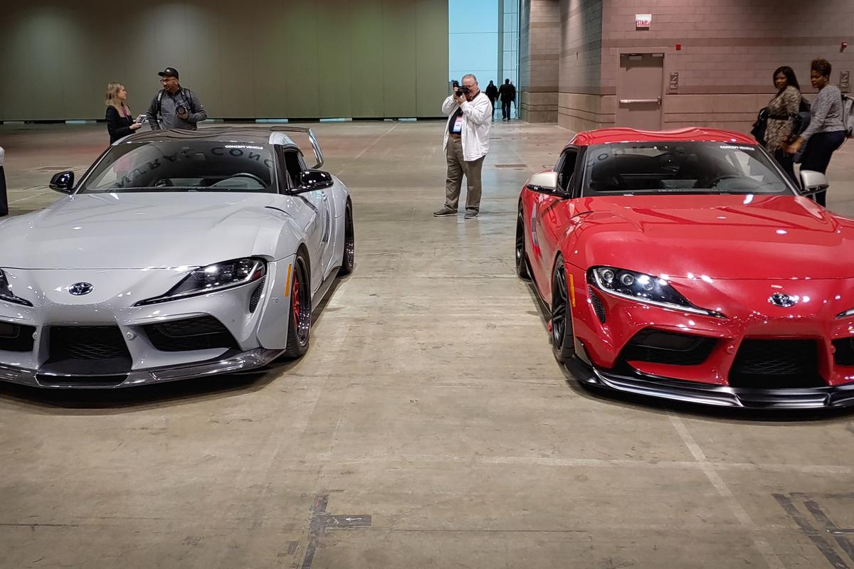Toyota brought the Supra and a special edition (left) concept lightweight version of the sports car