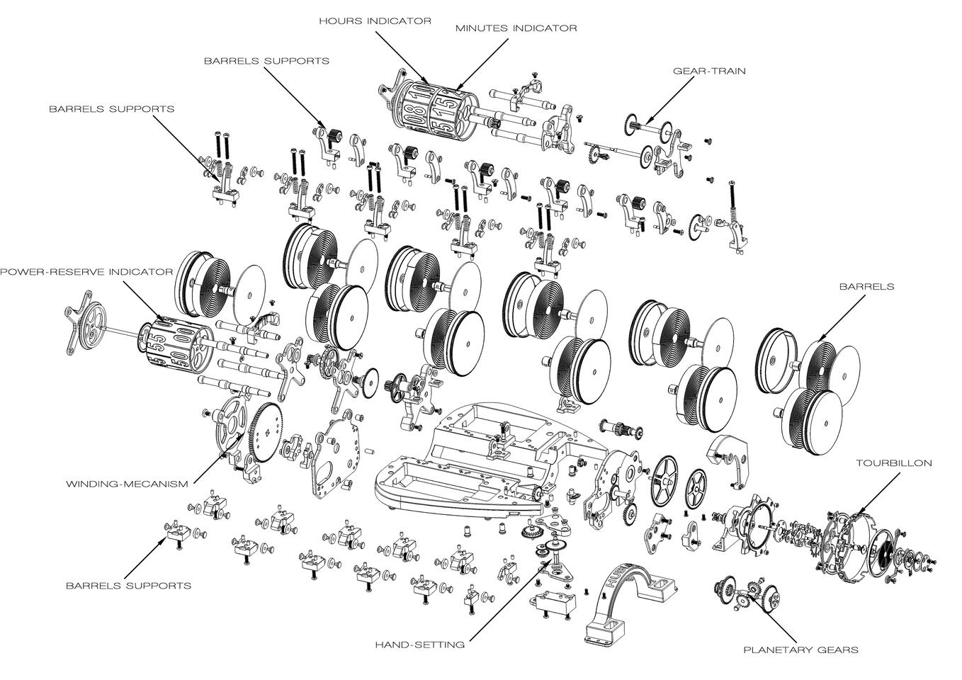 A diagrammatic breakdown of the components that together form the MP-05 LaFerrari watch
