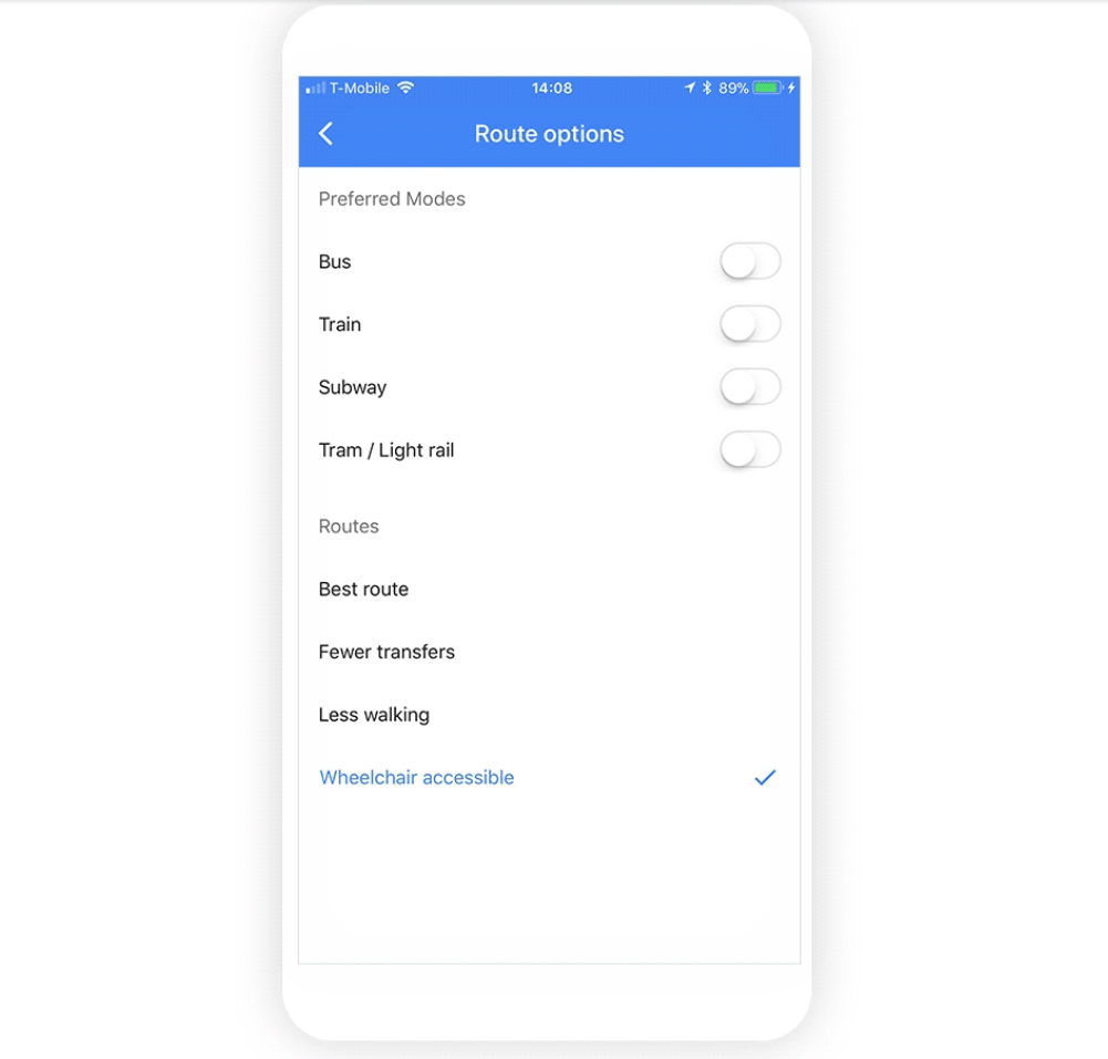 "Users can find wheelchair accessible routes in Google Maps by punching in their destination, hitting the ""Options"" button and then checking the ""Wheelchair accessible"" toggle"