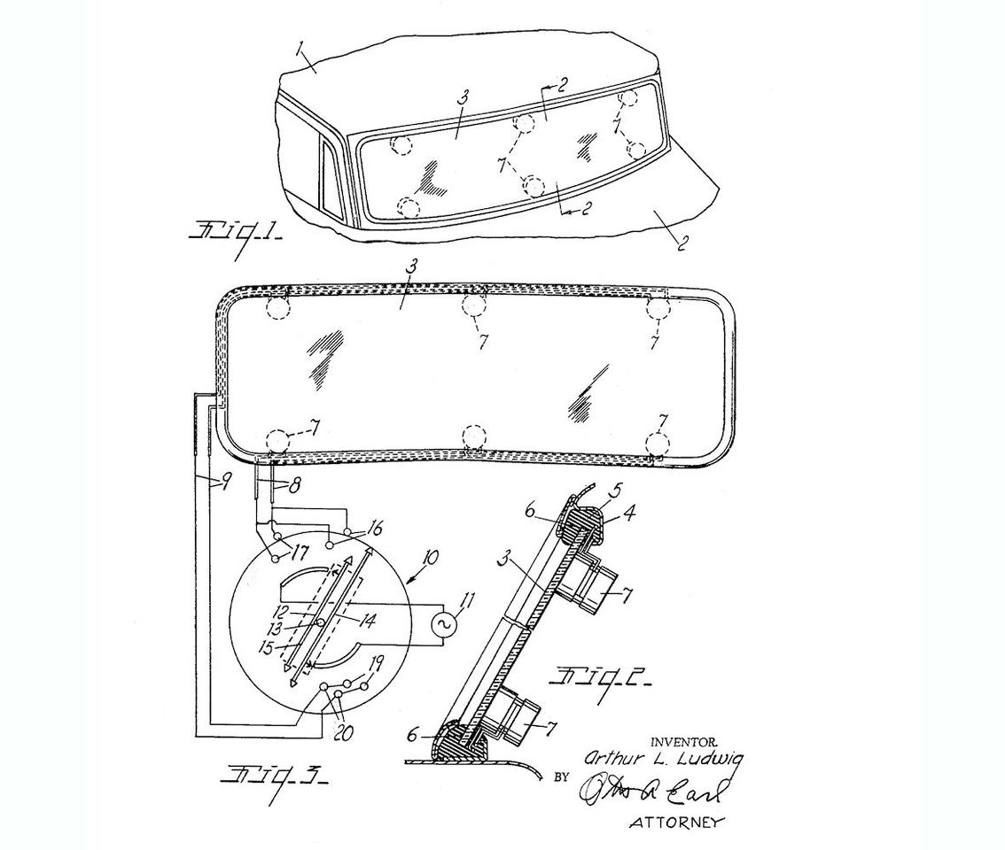 Arthur Ludwig's design for an ultrasonic windshield washer from his 1963 patent application (Image: US Patent 3171683 A)