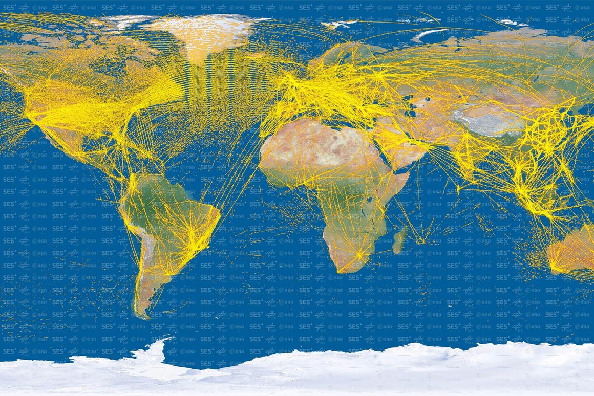 The satellite has picked up more than 25 million positions from more than 15,000 aircraft (Image: ESA/DLR/SES)