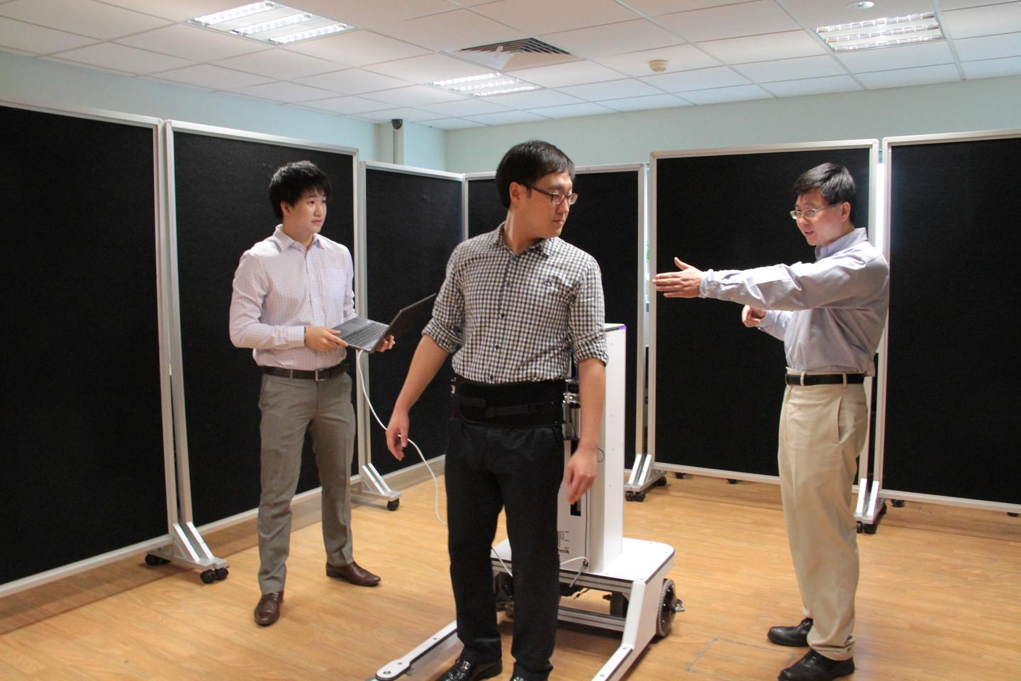 The robotic walker moves with the user, instead of keeping them confined to a treadmill