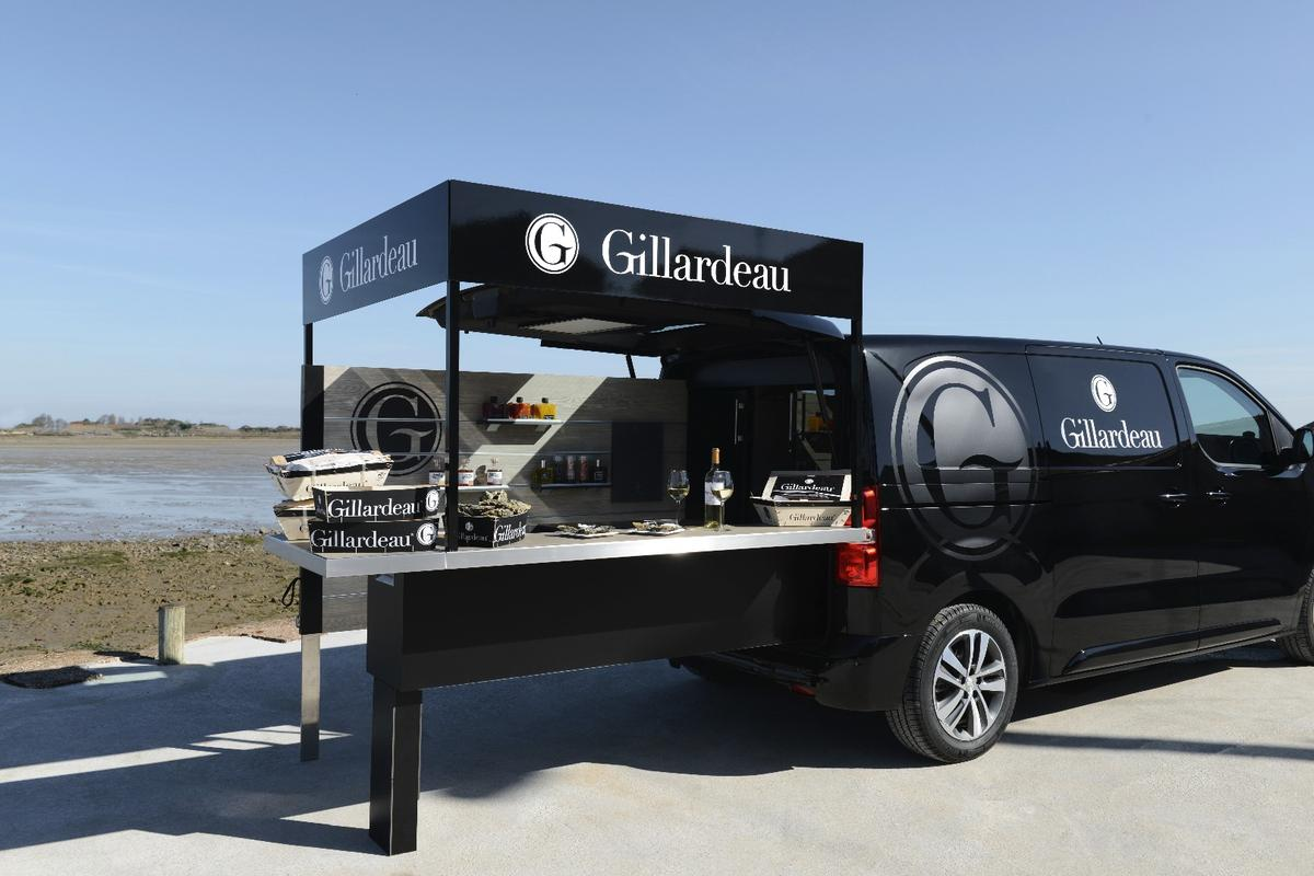 A different kind of food truck, Peugeot's design relies on slide-out, fold-out equipment to provide an outdoor bar experience