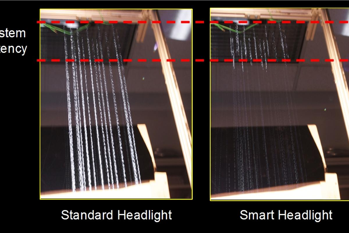 """A lab test illustrating how the new system can make raindrops """"disappear"""""""