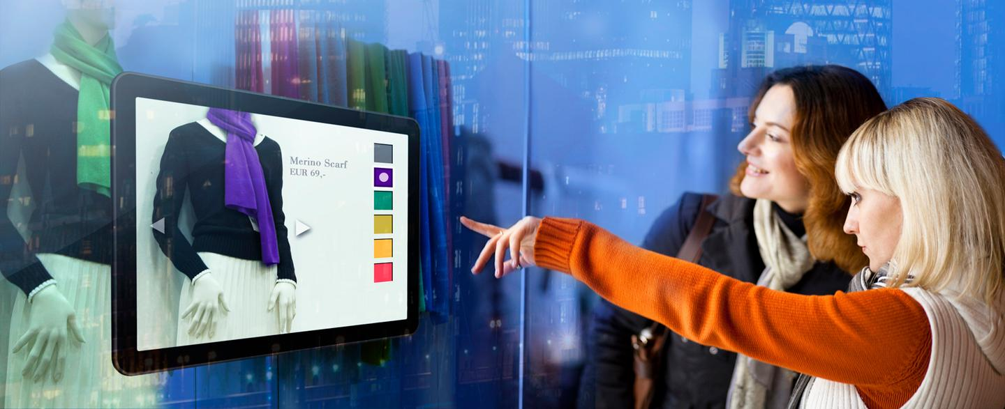 The proposed interactive shop window differs from existing touchscreen technology by using a series of cameras to generate two stereo or 3D images that are processed by visualization software to control the display