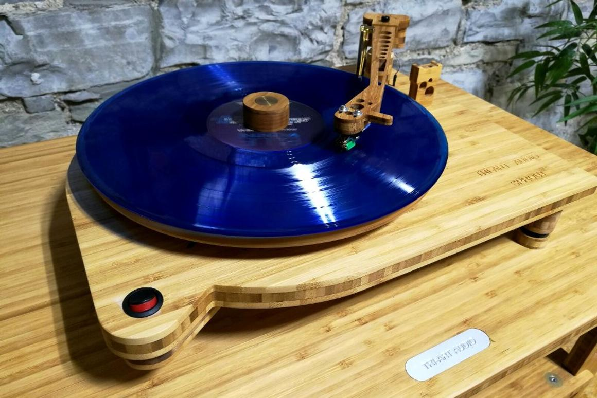Even the tonearm of the Sprout TA-0.5 turntable is made from bamboo