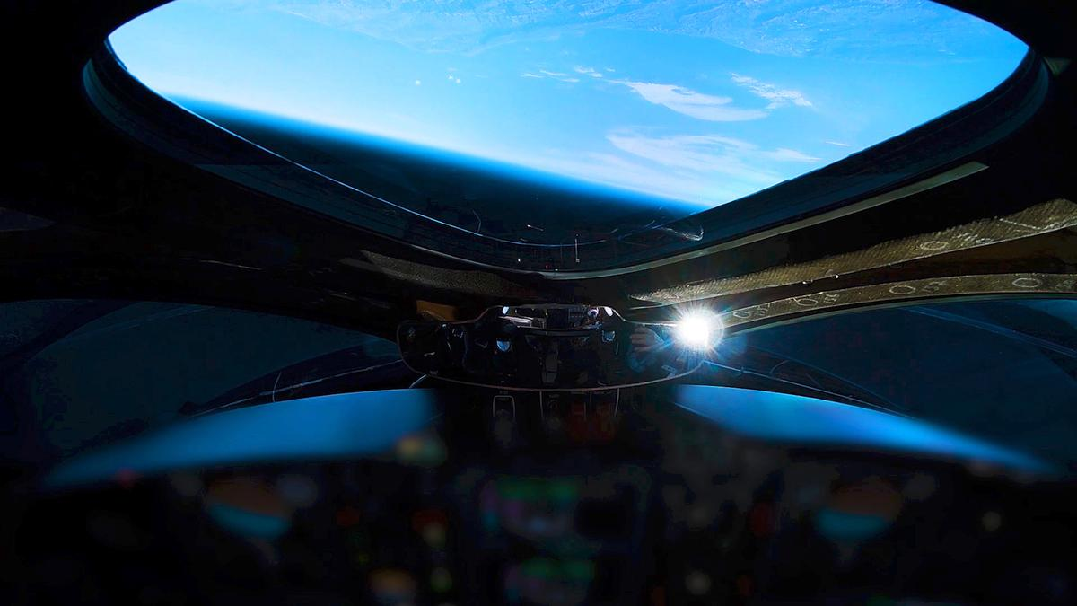 Earth as seen from VSS Unity at the edge of space